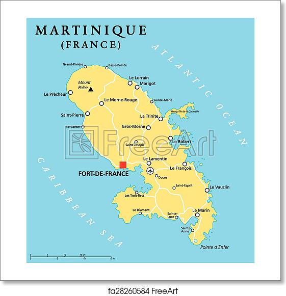Capital Of France Map.Free Art Print Of Martinique Political Map