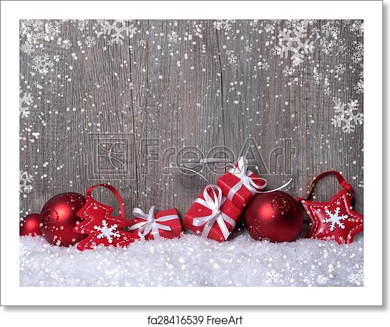Free Art Print Of Christmas Decorations With Gift Boxes