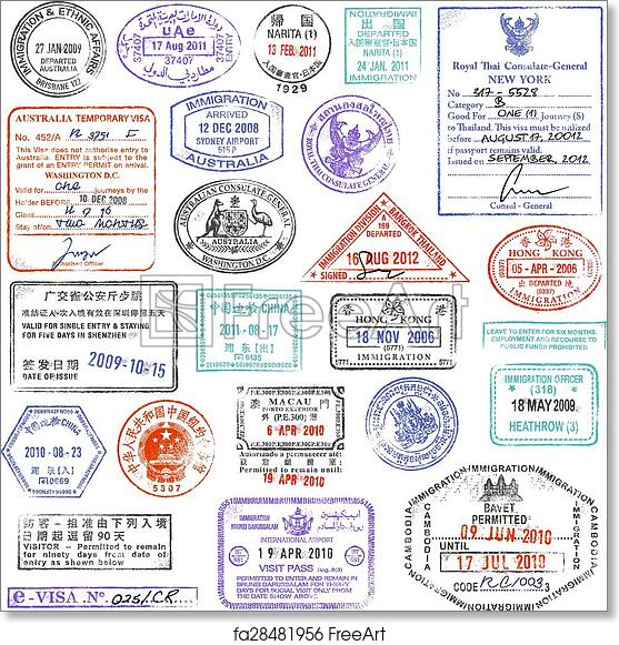 photo relating to Printable Passport Stamps for Kids referred to as Totally free artwork print of Superior High quality grunge Pport Stamp variety