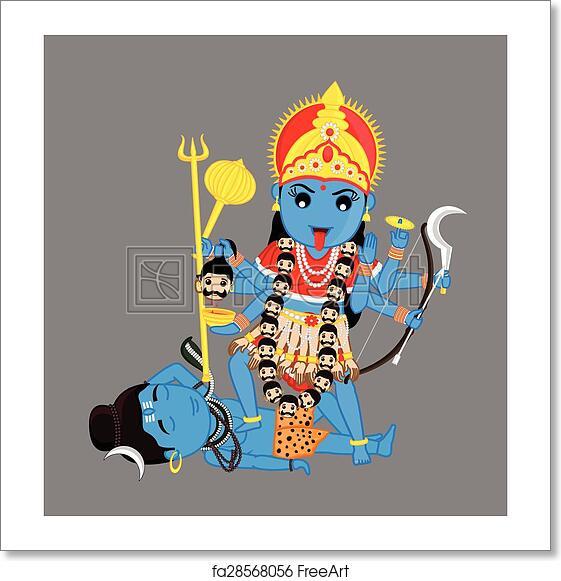 Hindu Poster Art: Free Art Print Of Hindu Goddess Kali Mata Vector. Hindu