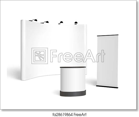 Free art print of Trade show booth mock-up  Vector isolated on white  background
