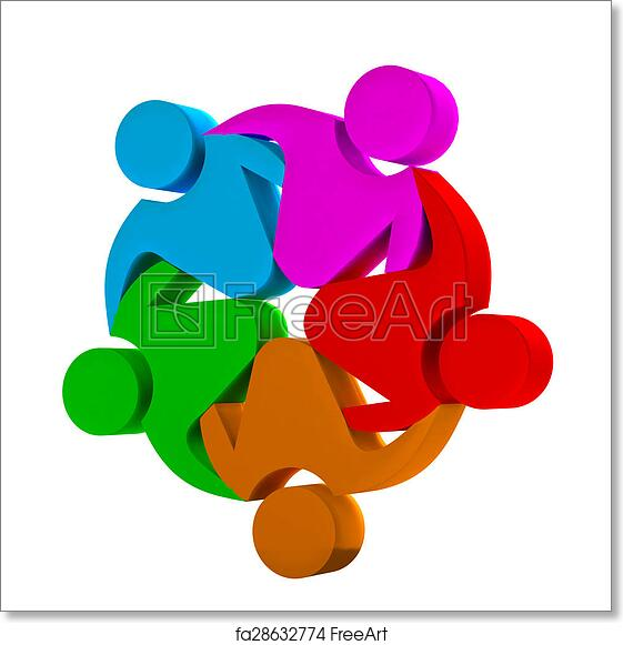 Free Art Print Of Teamwork 3d Social Media Logo Teamwork Concept Of