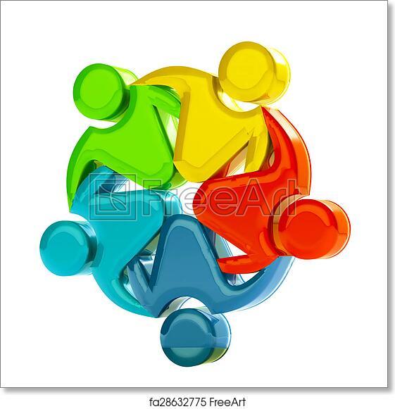 Free Art Print Of Teamwork 3d Social Media Logo Teamwork Concept Of