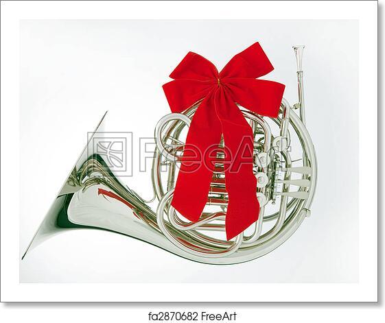 Christmas Ribbon.Free Art Print Of French Horn Christmas Ribbon Isolated