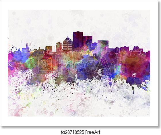 Free Art Print Of Rochester NY Skyline In Watercolor