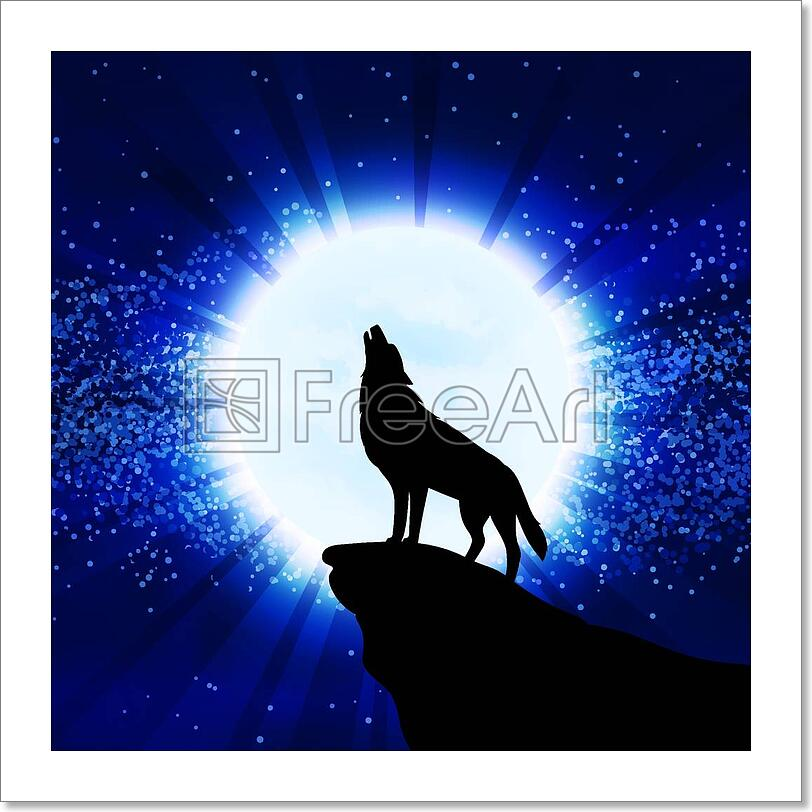 Wolf Howling At The Moon Art Print Home Decor Wall Art ...