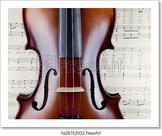 Free art print of Violin on open old sheet music book