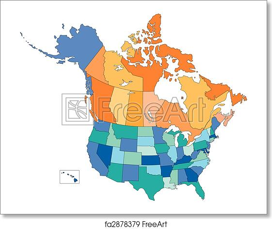 Free art print of USA and Canada, States and Provinces, Multi Colors