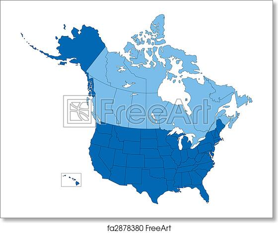 Free art print of USA and Canada, States and Provinces, Blue Color