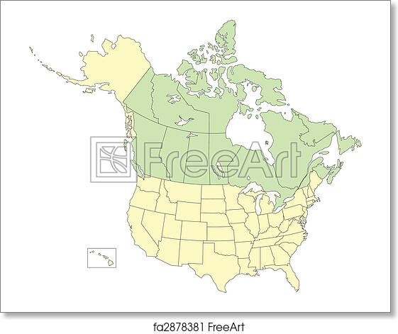 Free art print of USA and Canada, States and Provinces