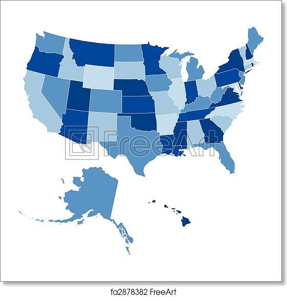 Free art print of USA 50 States Shades of Blue