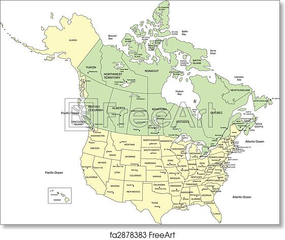 Free art print of USA 50 States and Canada Names Vector map of