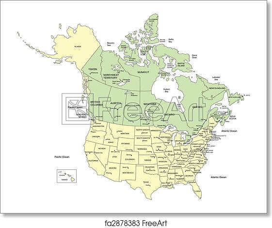 Free art print of USA 50 States and Canada, Names. Vector map of ...