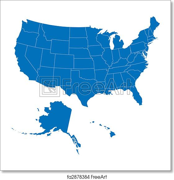 Free art print of USA 50 States Blue Color