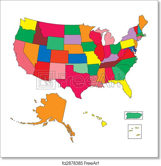 Free art print of USA 50 States in Color, with Puerto Rico and ...