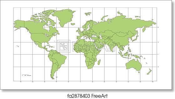 Free art print of world mercator map with countries and longitude free art print of world mercator map with countries and longitude latitude lines gumiabroncs Gallery