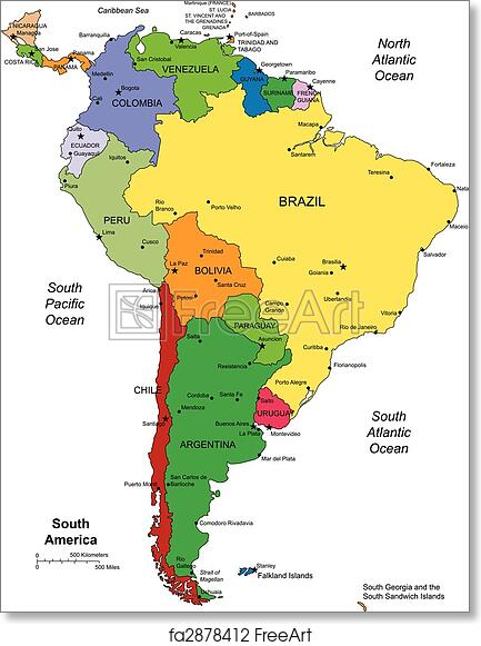 photograph regarding Printable Map of South America named Cost-free artwork print of South The us with editable International locations