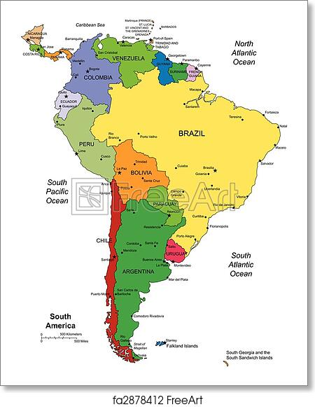 Free art print of South America with editable Countries. South ...