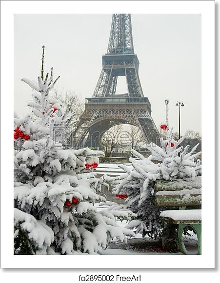 free art print of rare snowy day in paris the eiffel tower and decorated christmas tree