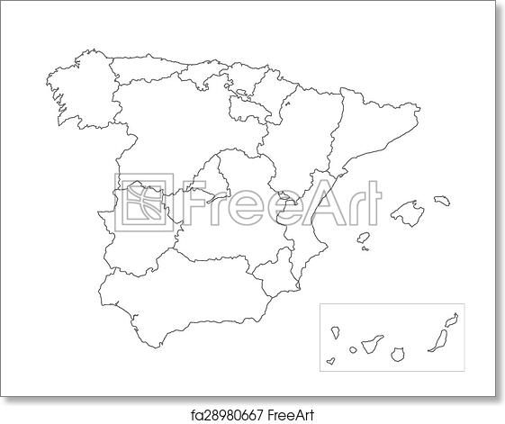 Map Of Spain Drawing.Free Art Print Of Map Of Spain