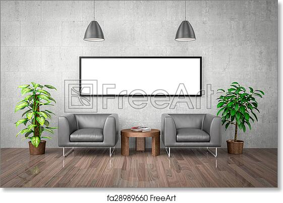 Free art print of Mock up poster on concrete wall, 3d illustration ...