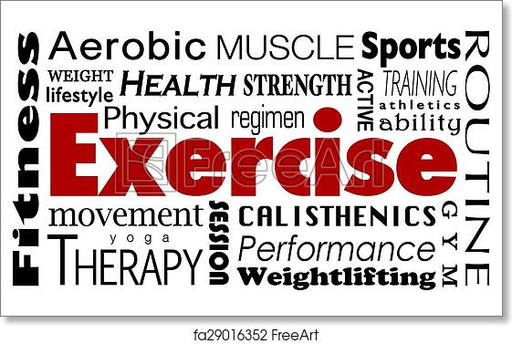 free art print of exercise word collage healthy lifestyle physical