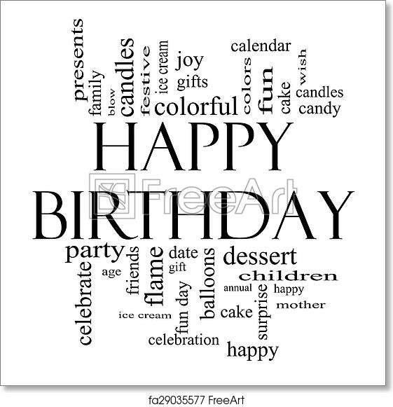 Free art print of happy birthday word cloud concept in black and white