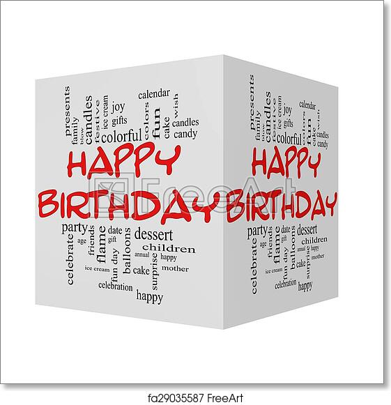Free art print of Happy Birthday 3D cube red caps Word Cloud Concept