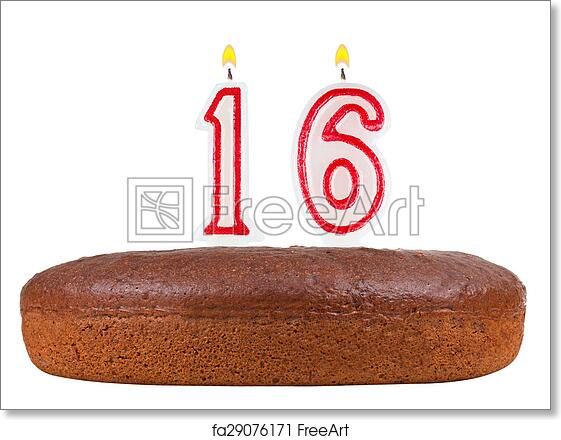 Free Art Print Of Birthday Cake With Candles Number 16 Isolated