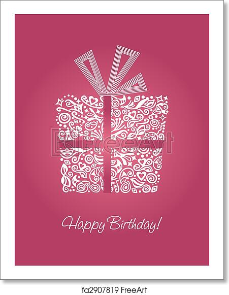 Pink Detailed Happy Birthday Card Vector Illustration
