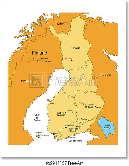 Free art print of finland with administrative districts and free art print of finland with administrative districts and surrounding countries gumiabroncs Image collections