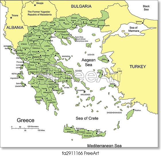picture regarding Printable Maps of Greece identified as Free of charge artwork print of Greece with Administrative Districts and Bordering International locations