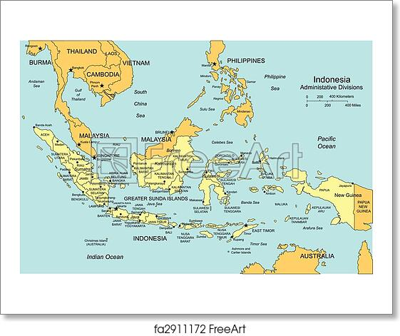 Free Art Print Of Indonesia With Administrative Districts And - Indonesia maps with countries