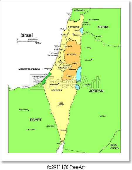 Free art print of Israel with Administrative Districts and Surrounding  Countries