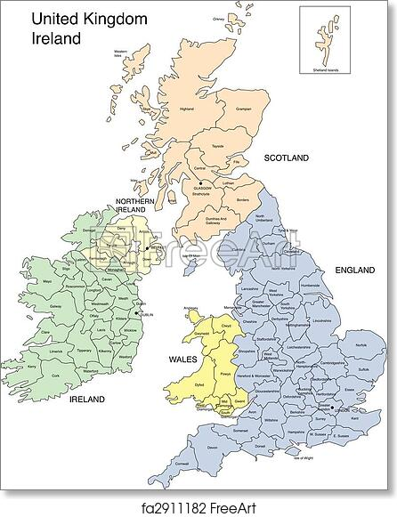 graphic regarding Printable Map of Uk and Ireland referred to as Cost-free artwork print of England, Eire, Scotland and Wales
