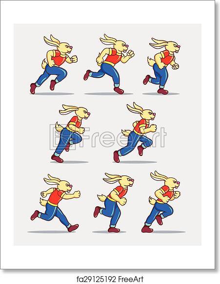 Free Art Print Of Running Rabbit Game Sprites Running Rabbit