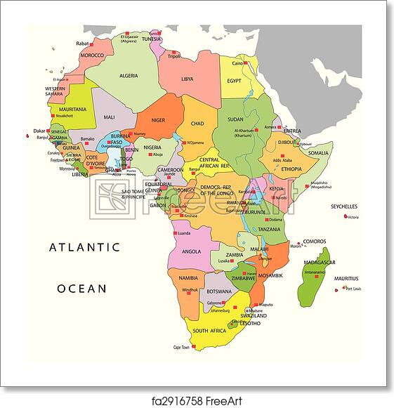 Free Map Of Africa.Free Art Print Of Political Map Of Africa Freeart Fa2916758