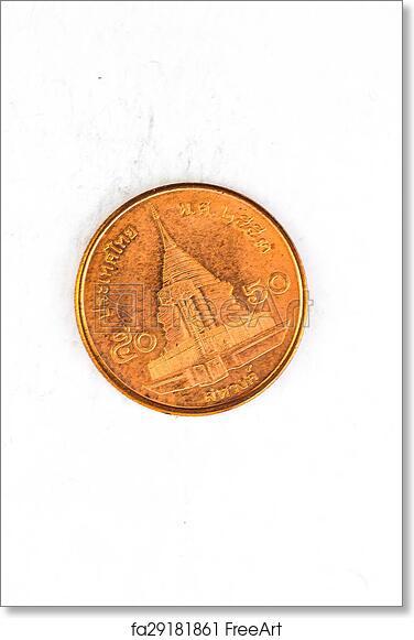Free art print of 50 Thai Satang Baht Coin with king Bhumibol Adulyadej