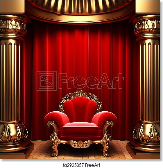 Free Art Print Of Red Velvet Curtains, Gold Columns And Chair