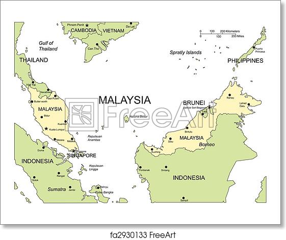 Free art print of malaysia major cities and capital and surrounding free art print of malaysia major cities and capital and surrounding countries freerunsca Gallery
