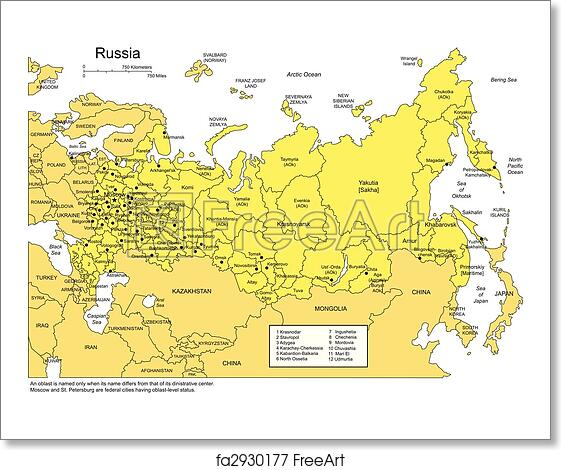 Free art print of Russia with Administrative Districts and Surrounding  Countries