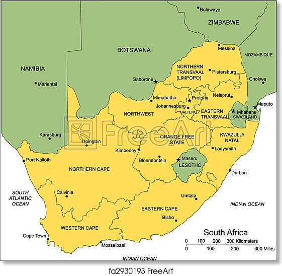 Free art print of South Africa with Administrative Districts and