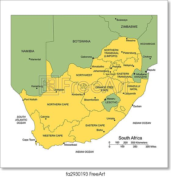 Free art print of South Africa with Administrative Districts and  Surrounding Countries