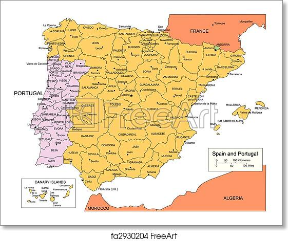 Free Printable Map Of Spain.Free Art Print Of Spain And Portugal With Administrative Districts And Surrounding Countries