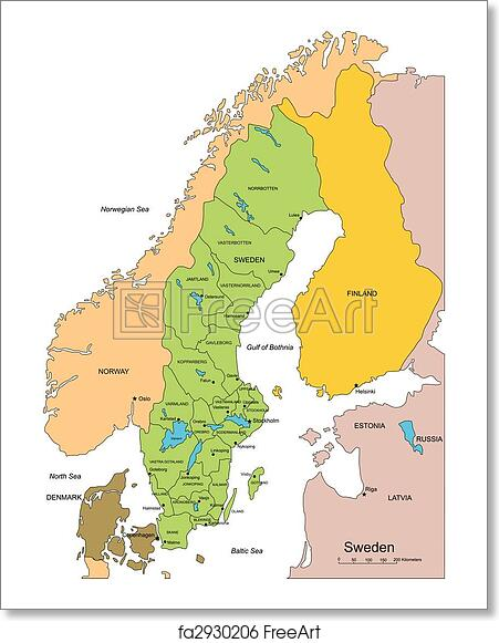 Free Art Print Of Sweden With Administrative Districts And - Sweden map all cities
