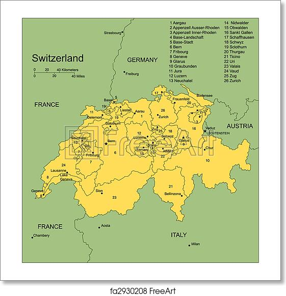 Free Art Print Of Switzerland With Administrative Districts And Surrounding Countries
