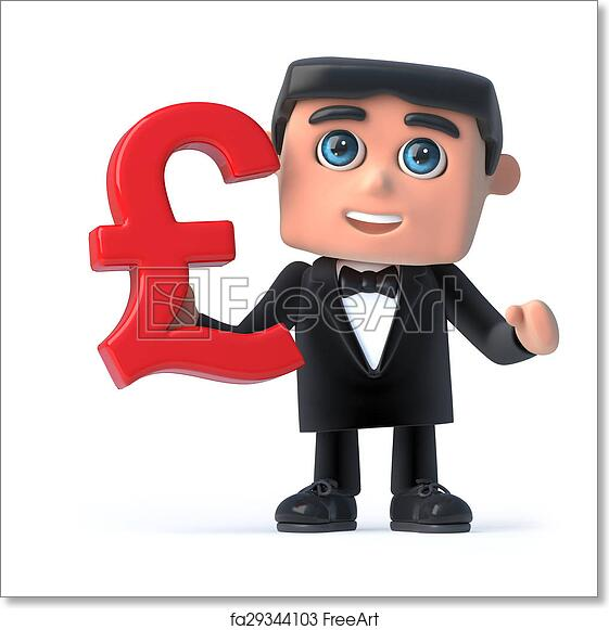 Free Art Print Of 3d Bow Tie Spy Holds Uk Pounds Sterling Currency
