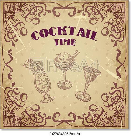 Free art print of vintage cocktails