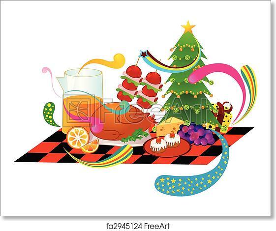 Christmas Images Free Cartoon.Free Art Print Of Christmas Dinner