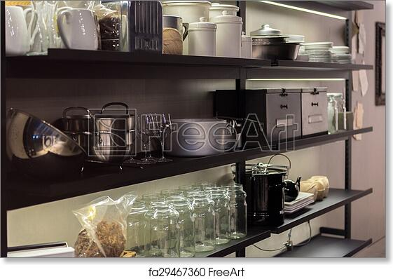 Free art print of Commercial Kitchen Shelf. Shelves in Professional ...